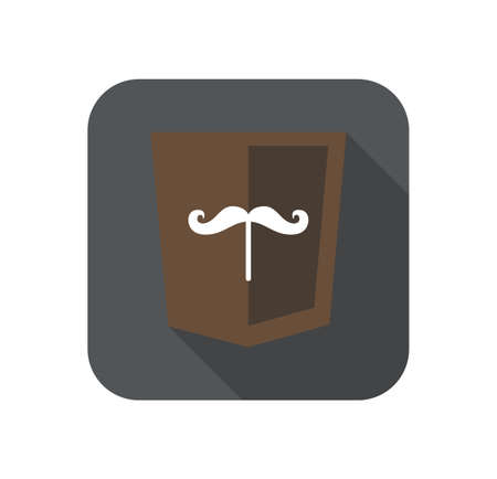 css3: web development shield sign isolated mustache icon on grey badge with long shadow Illustration
