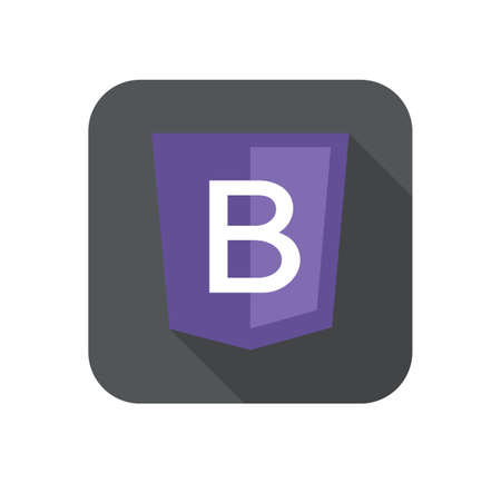 css3: web development shield sign letter B violet isolated icon on grey badge with long shadow
