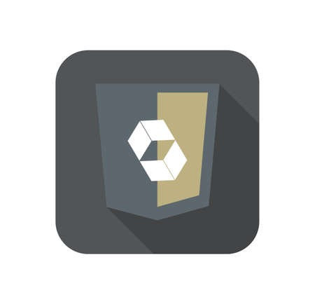 hibernate: web development shield abstract square sign isolated icon on grey badge with long shadow