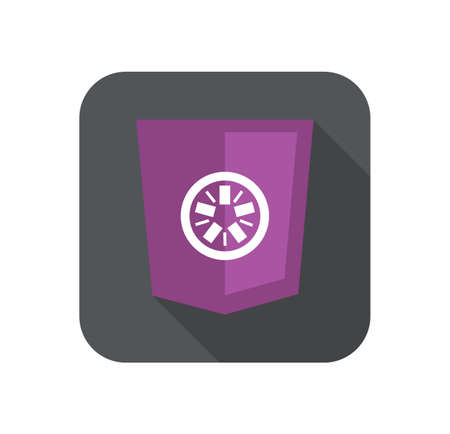 web development shield abstract round violet sign isolated icon on grey badge with long shadow