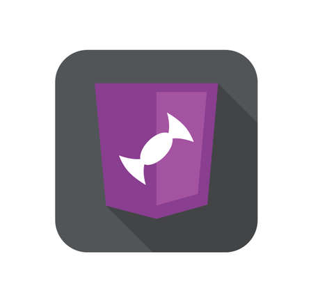 web development shield violet candy sign isolated icon on grey badge with long shadow
