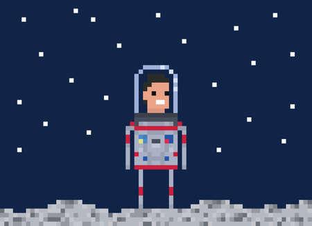 Astronaut pixel game style illustration. Cosmonaut vector pixel art design. 8 bit people character.