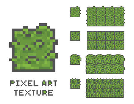 pixel art 8 bit game illustration. green grass tree pixelated pattern, seamless texture background