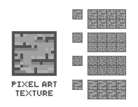 Vector pixel art stone texture. Stone wall pattern. Retro game element.
