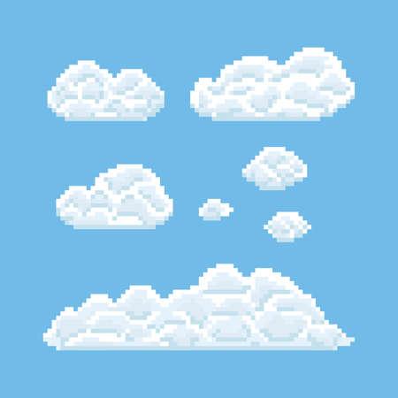 Clouds shapes set. Pixel art 8 bit texture illustration Illustration