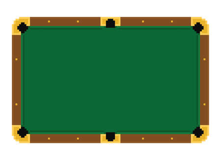 pixel art emply green billiard table on a white background isolated Illustration