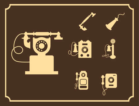 A Vector retro phone icon set on brown background.