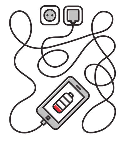Phone charging with long wire. Smarthone and line wire. Minimalism Line drawn outline illustration banner, card, template