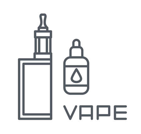 Simple set of vape related vector line icons, electronic cigarette and liquid isolated on white background