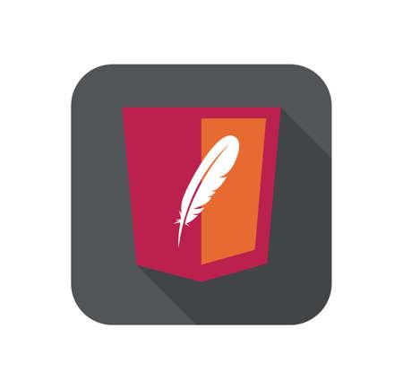ベクトルウェブ開発赤い盾記号 - 羽の形をしたhtml5スタイルのバッジ。白い背景に孤立したアイコン  イラスト・ベクター素材