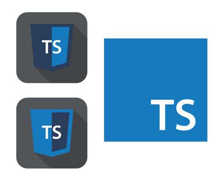 ウェブ開発シールドサインのベクトルコレクション - ts文字でhtml5スタイルのバッジ。白い背景に孤立したアイコン