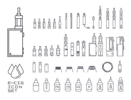 vape関連のシンプルなラインアイコンのvecorセット。RDA、アトマイザー、ドリップチップ、モッズ、電子液体、白で分離コイル