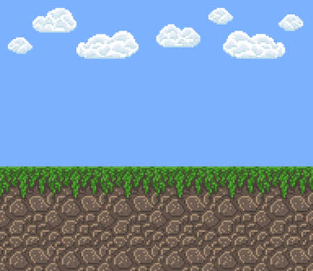 pixel art vector texture - bright day blue sky with clouds green grass land pattern