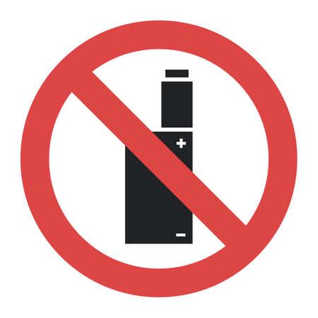 ベクトルシンボル - 禁止、喫煙電子タバコは白い背景に隔離されていません 写真素材