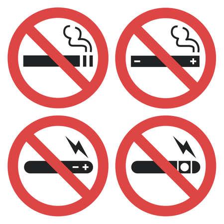 Vektorsymbolsatz - vaping verboten, rauchende elektronische Zigarette nicht erlaubt lokalisiert auf weißem Hintergrund Standard-Bild