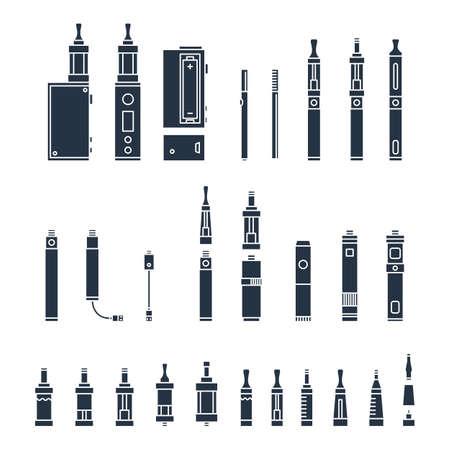 vape関連のシンプルなアイコンのベクトルセット。RDA、アトマイザー、ドリップチップ、モッズ、電子液体、白で分離コイル