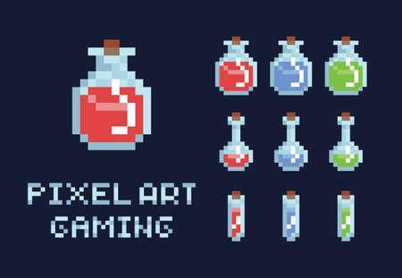 ピクセルアートポーションボトル、赤緑と青、健康マナゲームデザインオブジェクトのセット
