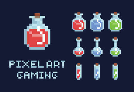 Set of pixel art potion bottles, red green and blue, health mana game design object