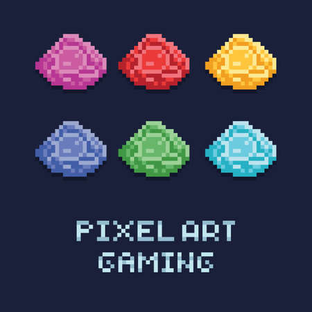 pixel art style vector illustration set of ore gems of different colors Banco de Imagens