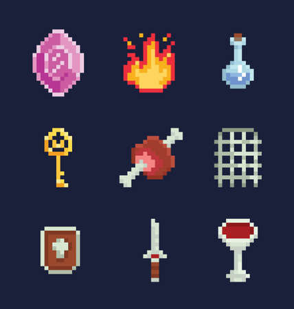 Vector pixel art illustration icons for fantasy adventure game development. Ilustração