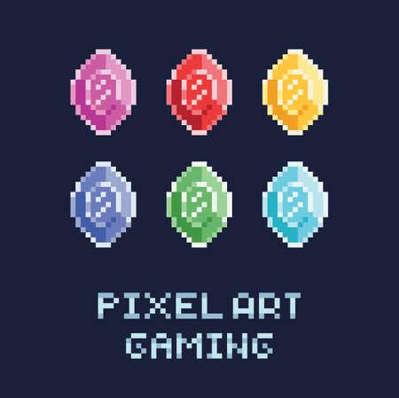 ピクセルアートスタイルベクトルイラストセット - 異なる色のダイヤモンド