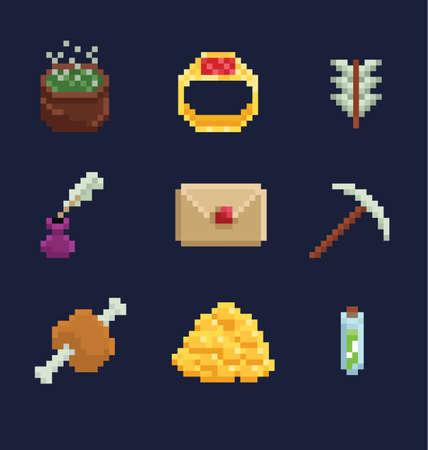 Vector pixel art illustration icons for fantasy adventure game development, ring, food, arrow, potion, inkwell, boiler, letter, pick, gold isolated on dark blue background