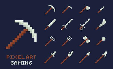 ベクターピクセルアートツールアイコンのセット。斧、ピック、剣、蹄、槍、ナイフ - ダークブルーの背景に孤立したゲームデザインのインベント  イラスト・ベクター素材
