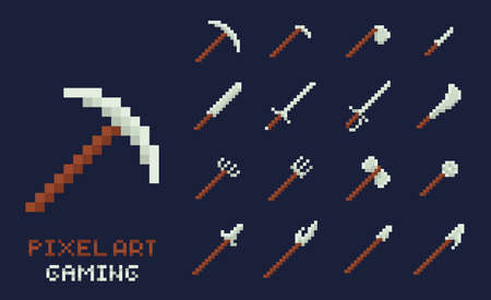 Set of vector pixel art tools icons. Axe, pick, sword, hoe, lance, knife - isolated game design inventory illustration on dark blue background Ilustração
