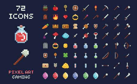 ピクセルアートベクトルゲームデザインアイコンビデオゲームインターフェイスセット。