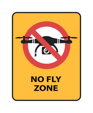 Drone No Fly Zone sign. Yellow prohibition sign with quadcopter isolated vector icon Stock Vector - 94765797