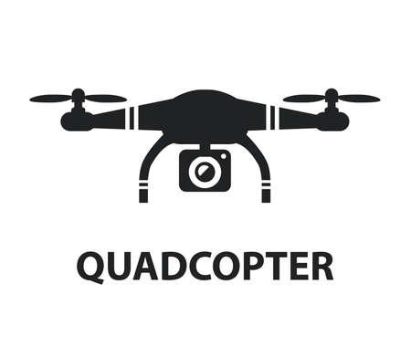 Drone quadcopter camera black icon isolated graphic design illustration