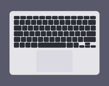 White laptop computer keyboard with black keys graphic vector illustration isolated Illustration