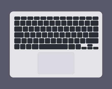 White laptop computer keyboard with black keys graphic vector illustration isolated Ilustração