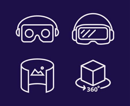 A  glasses for smartphone vector illustration line design set. Virtual reality helmet isolated icon