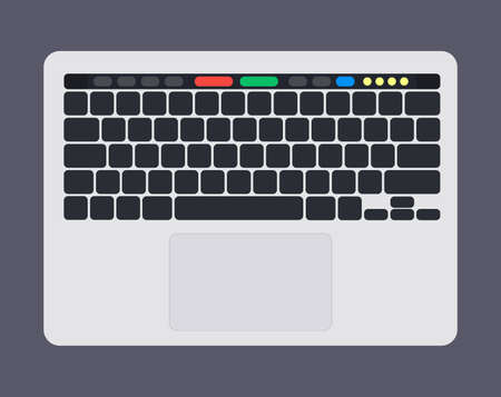 Modern laptop computer keyboard with blank black keyboard keys, touch panel and touch pad.