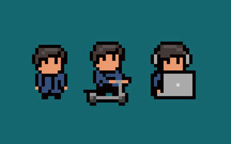 Three pixel art male characters, standing still, using notebook and headset, riding a scooter. Illustration