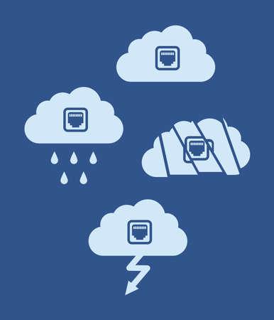 Cloud-Technologie-Computing-Konzept. Flache Designwolke mit Internet-Sockel - Vektorillustration Vektorgrafik