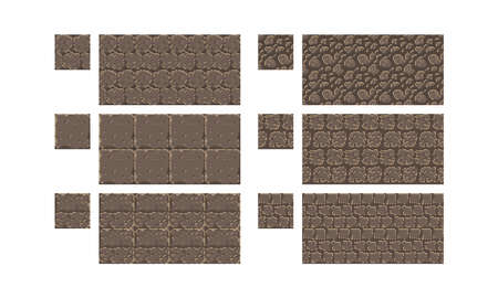 Vector pixel art seamless ancient stone texture. brick wall pattern. Retro 8-bit game element.