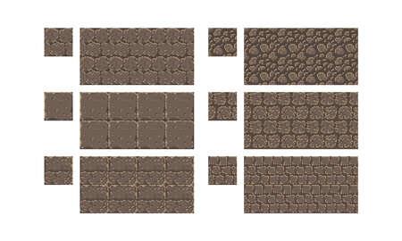 Vector pixel art seamless ancient stone texture. brick wall pattern. Retro 8-bit game element. Stock Vector - 120986216