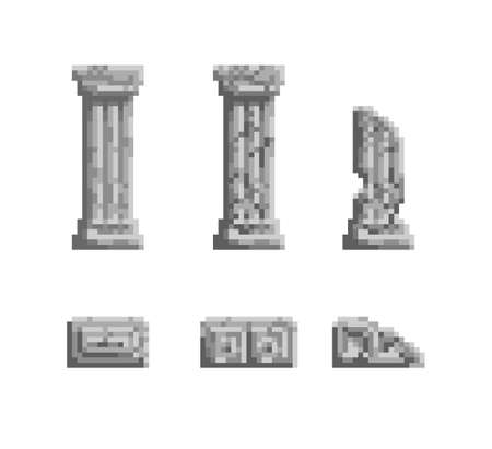 Vector pixel art illustration 8 bit gray ancient column ruins isolated. Old video game style art Ilustração