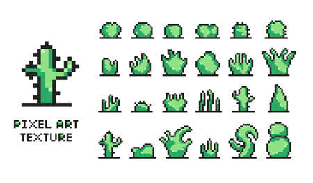 Set of pixel art green bushes on white background 8 bit isolated vector illustration texture  イラスト・ベクター素材