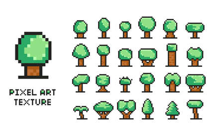 Pixel art vector illustration set - 8 bit green tree icons isolated