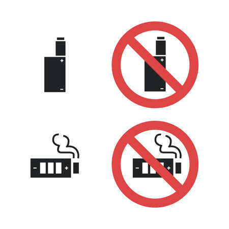 Vaping device not allowed forbidding sign. Vector icon illustration isolated on white
