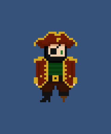 Pixel art vector illustration - 8 bit pirate captain with eye patch and leg crutch in red suit isolated