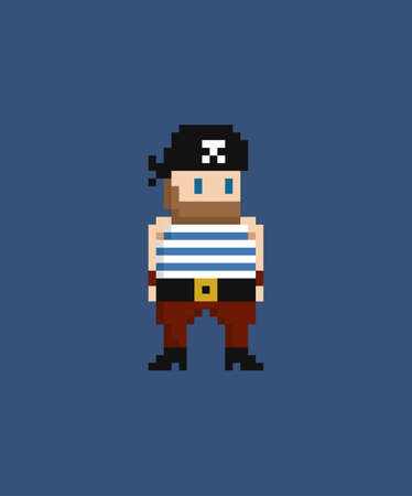 Pixel art vector illustration - 8 bit pirate in sailor suit and bandana isolated  イラスト・ベクター素材