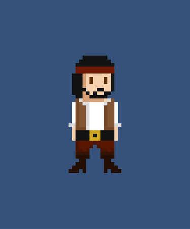 Pixel art vector illustration - 8 bit pirate crew member in white skirt and brown vest