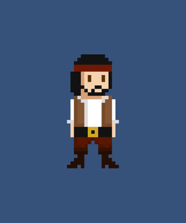 Pixel art vector illustration - 8 bit pirate crew member in white skirt and brown vest