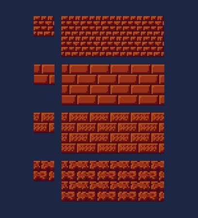 Illustration vectorielle - ensemble de texture de brique rouge 8 bits 16x16. Pixel art style jeu de fond transparente motif brun isolé