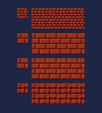 Vector illustration - set of 8 bit 16x16 red brick texture. Pixel art style game background seamless pattern brown isolated