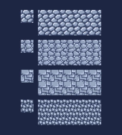 Vector illustration - set of 8 bit 16x16 stone wall brick texture. Pixel art style game background seamless pattern grey isolated